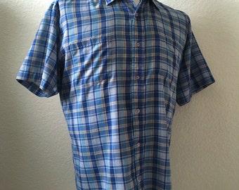 Vintage Men's 70's Plaid Shirt, Blue, Button Down, Short Sleeve by Dee Cee (L)