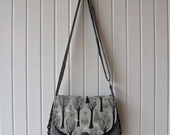 Snapdragon Satchel in Cotton and Steel Haunted Forest in Grey with linen and black faux leather