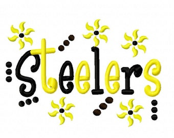 Steelers Applique Machine Embroidery Design 4x4 7x5 10x6 Pittsburg PA Team Instant Download Basketball Football Baseball Sports
