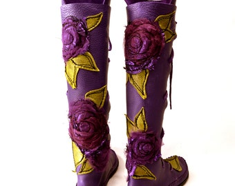 NEW! Purple DOUBLE Flower Knee High Boot / Tall Moccasin Hand Stitched Soft Bullhide Leather Upper Durable Vibram Sole / Faerie larp
