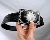 Vintage Black Tooled Floral Leather Belt - Size 30 - USA - Coin Buckle