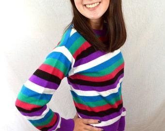 RAD Rainbow Vintage 80s OP Ocean Pacific Striped Sweater