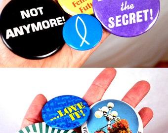 Lot of 8 Buttons Destash Pinback Badge Pin