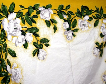 Vintage 40s 1940s Tablecloth Floral Table Cloth California Hand Prints - CHP