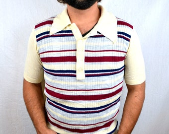 Vintage 70s Striped Collared Shirt Top