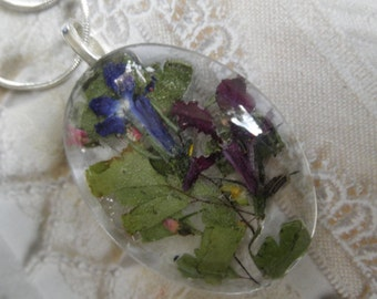 Blue & Purple Lobelia, Pink Veronica, Sweet Yellow Clover Oval Glass Pressed Flower Pendant-Symbolizes Loyalty-Gifts For 30-Nature's Art