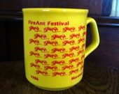 Vintage Novelty Fire Ant Insect Cup Mug Yellow 1986