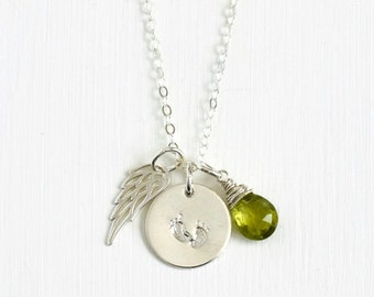 Sterling Silver Miscarriage Jewelry / Infant Loss Jewelry / Angel Wing Necklace / Footprints Necklace / Birthstone Necklace