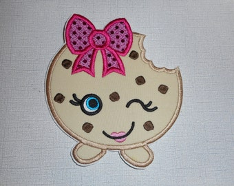 Free Shipping Ready to Ship Girly chocolate chip cookie  Machine Embroidery iron on applique