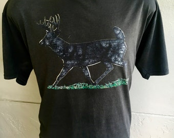 1980s vintage faded deer t-shirt - black buck size extra large