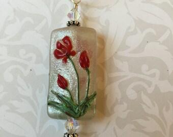 White Shimmer Poppy Red Glass Handmade Necklace