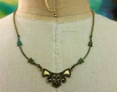 Art Deco Patina Necklace Floral Necklace Verdigris Patina Jewelry by I am Joolienn