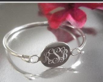 Engravable Baby Bangle, Monogrammed Bangle, Silver Name Bangle, Silver Initial Bracelet, Christening Jewelry, Baptism Gift, Baby