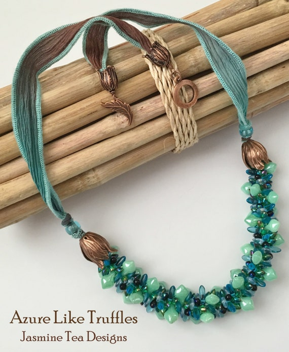 Azure Like Truffles Beaded Kumihimo Necklace with Hand Dyed Silk