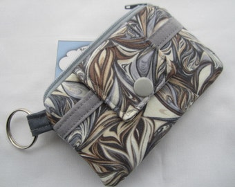 Zipper Wallet Pouch Key Chain Grey Gray Swirls Card holder -