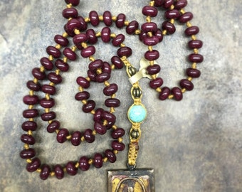 Knotted Red Jade Buddah Necklace