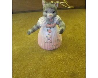 Cat Ballerina Ornament– Gray Striped Tabby Cat Ballet Dancer– Pink Gown w/ Rosettes & Glitter- Santa Paws Porcelain Bell Christmas Ornament