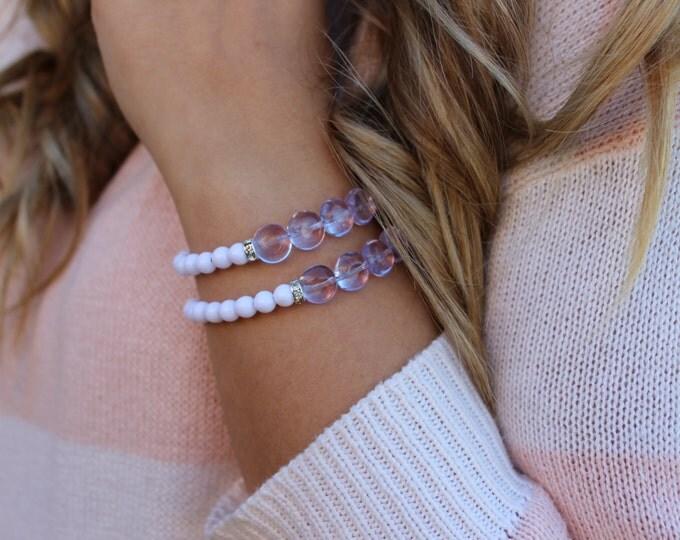 Purple, White and Rhinestone Beaded Bracelet.