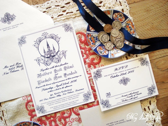 Wedding Invitations New Orleans: 100 Jackson Square New Orleans Wedding Invitations St. Louis