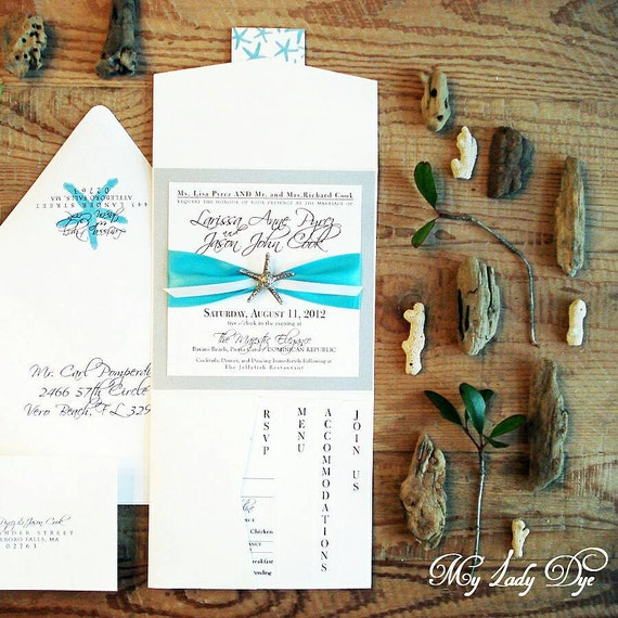 100 Starfish Wedding Invitations - White Silver Black Turquoise - By My Lady Dye