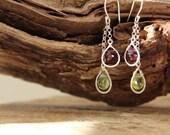 Peridot Garnet earrings - Green Red gemstone earrings - Drama Earrings - Drop Earrings