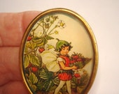 Child Fairy with Strawberries  Brooch KL Design