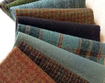 Hand Dyed Felted Wool, 8in.x 8in. -  Teal, Green, Caramel Solids and Textures - for Applique, Penny Rugs, Sewing Projects - W540