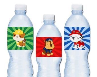 Paw Patrol Party Water Bottle Labels, Instant Download, Printable Party Supplies, Puppy, Dog Birthday, boy girl birthday