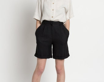 Vintage 90s Woven Black High Waisted Wide Leg Pleated Shorts | 0