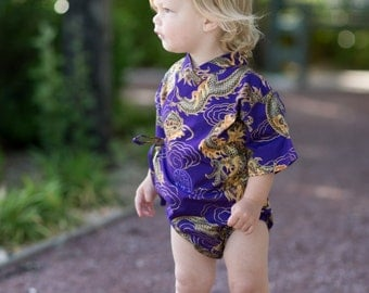 Baby Bodysuit Kimono - Purple Golden Dragon - cute japanese baby clothing new baby asian