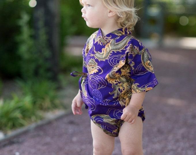 Baby Bodysuit Kimono - Purple Golden Dragon - cute japanese baby clothing new baby asian