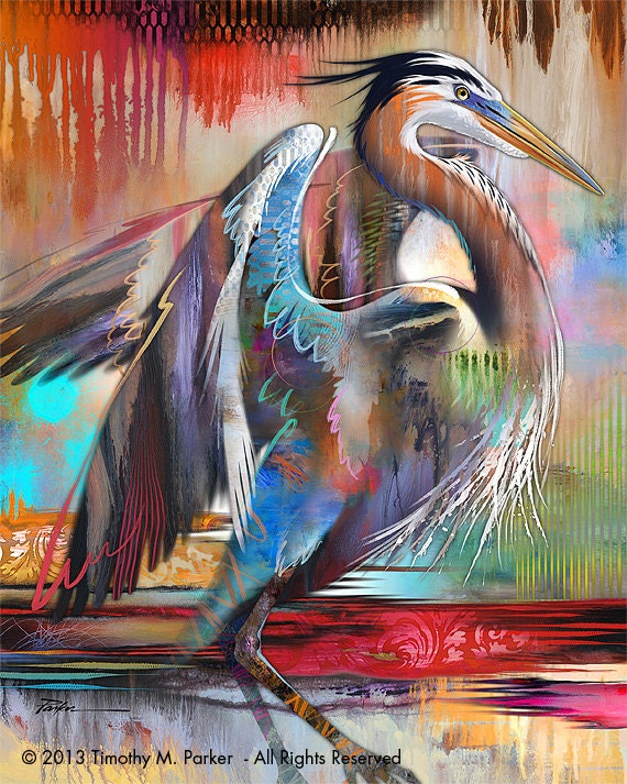 Contemporary Tropical Bird Art Modern Bird Painting