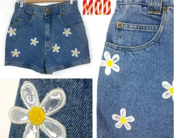 Vintage 90s High-Waisted Jean Shorts with Daisy Patches - Super Unique Club Kid Cute!