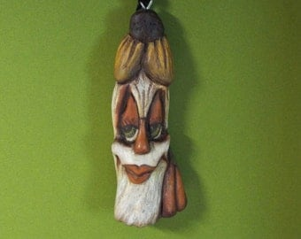 Halloween Ms Scarecrow Ornament Wood Carving  Folk Art OOAK