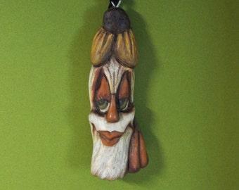 Halloween Ms Scarecrow Ornament Wood Carving  Folk Art OOAK