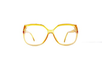 80s Christian Dior Eyeglasses Frames Women's Vintage 1980's Yellow with White Trim Frames Made in Germany #M500 DIVINE