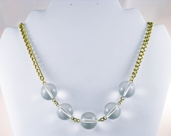 Vintage John Wind Clear Acrylic and Gold Tone Necklace (N-3-3)