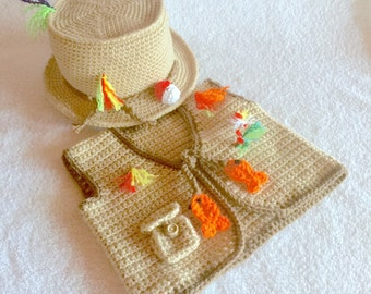 Baby Fishing Outfit - Crochet Fishing Hat - Baby Crochet Set - Fishing Outfit - Newborn Fishing Outfit - Fishing Photo Props - Fishing Baby