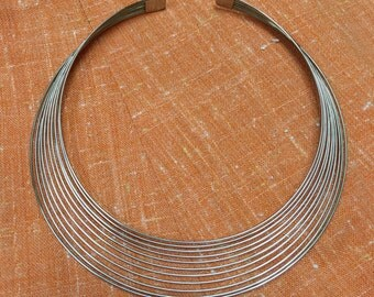 Silver Disco 70's Wire Choker Necklace