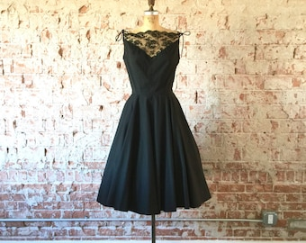 1950s Party Dress Black Lace Sheer Neckline Full Skirt Vintage Fifties Dress M