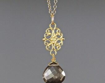 Smokey Quartz Pendant - Wire Wrapped Pendant - Smokey Quartz Necklace - Brown Gemstone Pendant - Brown and Gold Jewelry - June Birthstone