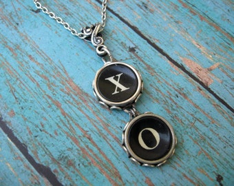 Typewriter Keys - Jewelry - Necklace - X and O - Hugs and Kisses - No T229