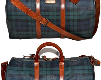 """POLO Ralph Lauren 19"""" Inch Black Watch Tartan Check Holdall Carry On Travel Duffle Luggage Suitcase With Strap Green Travel Bag Vintage 80s"""