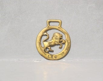 Zodiac Sign Leo Horse Brass / Vintage Equestrian Talisman Rampant Lion Harness Plaque, Astrology Medal Medallion Bags and Purses Making Fob