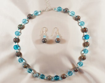 Aqua and stone necklace - brighten your day
