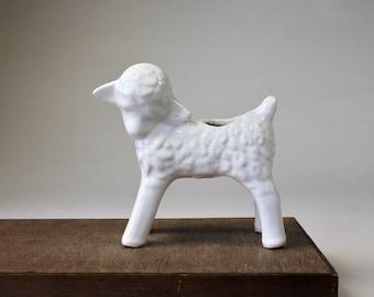 Vintage White Ceramic Lamb Planter, Unmarked McCoy, Nursery Planter, Child's Room Decor, Little White Lamb, Mid Century Planter 1940s 1950s