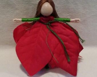 Waldorf Flower Fairy Doll - Red Poinsettia Flower Fairy - Christmas fairy