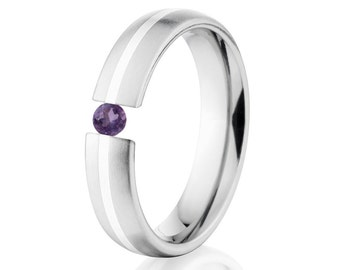 Tension Set Ring, 5mm, Uniequly You, Two Toned Titanium and Sterling Silver, Alexandrite, 5HR11G-SS-BR