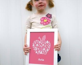 Custom Alpahbet Poster - Kid's Room Letter Poster- Children's Modern Typographic Art - Love Letters Series