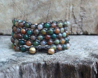 Fancy Jasper 5 Wrap Bracelet, 6mm beads